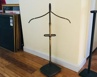 Antique brass Mercantile Childs Clothing Valet rack brass base for hat dress & pants or shorts adjustable RARE Collectible sewing display