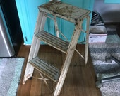 Antique Farmhouse step stool ladder metal legs and steps Unique design collectible display barn rustic primitive plants stand patio porch