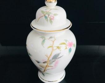 Gold Trim Ginger Jar Hand Painted  Floral Porcelain Vase Crackle finish No Lid TealBurnt OrangeDark Red Bird on Side 5.25\u201d Tall