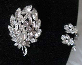 b78dc9240 Vintage Beautiful Large Rhodium Plated Eisenberg Ice Brooch Rhinestones Pin  & Clip Earrings Signed Jewelry WOW Piece Wedding Evening Jewelry