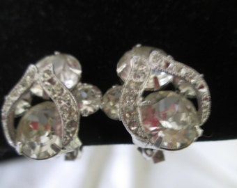 edb43a044 Beautiful Large Rhodium Plated Eisenberg Ice Clip Earrngs Rhinestones  Signed Jewelry WOW Pieces Wedding Evening Jewelry signed