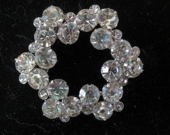 6ca5291a1 Vintage Beautiful Large Rhodium Plated Eisenberg Brooch Rhinestones Large  Pin Signed Jewelry WOW Piece Wedding Evening Jewelry