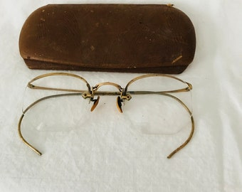 646d88f606d Antique eyeglasses gold wire rim 10-12K gold filled rims collectible  display farmhouse office eye glasses