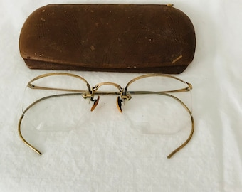4506611a9cd Antique eyeglasses gold wire rim 10-12K gold filled rims collectible  display farmhouse office eye glasses