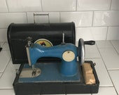 Child size USSR sewing machine Blue black hand crank All metal original 1930 39 s with case