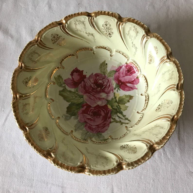 Beautiful Antique Large Antique Hand painted Rose Vegetable Bowl Trimmed in Gold Farmhouse Cottage Shabby Chic collectible display bowl