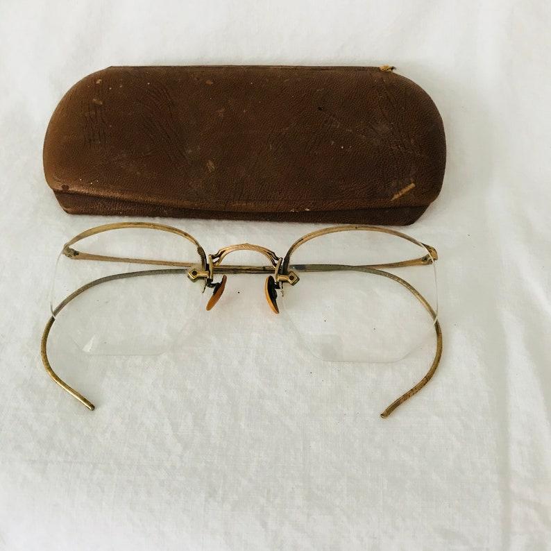 3d0d75f298a4 Antique eyeglasses gold wire rim 10-12K gold filled rims