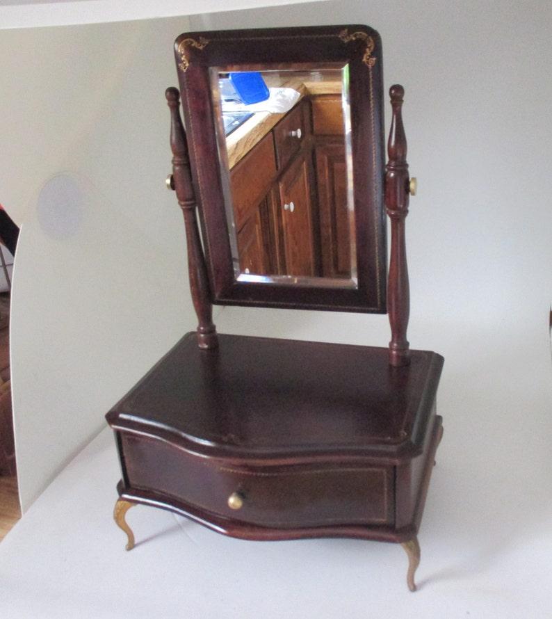 Beautiful Victorian Beveled Mirror Dresser Style Jewelry Box Ornate Gold Trim display collectible storage Antique elegant decor Brass trim