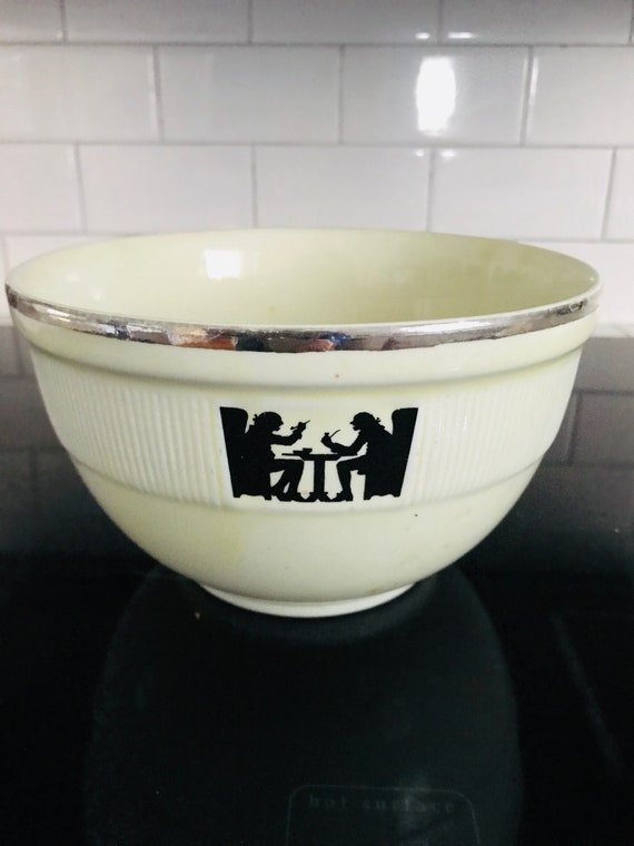 Farmhouse Style Vintage Kitchen On Sale Hall China Baking or Serving Bowl Basic Brown and White Stoneware