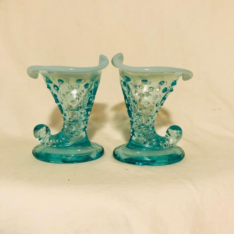 Fenton Hobnail 1950/'s Aqua Blue glass miniature vase PAIR 3 34 tall Opalescent rim collectible display vintage home decor bud vase