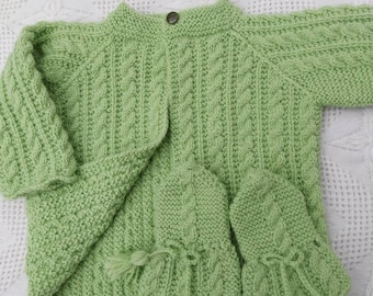 Handknit green and blue 3-6 month two-button hoodie