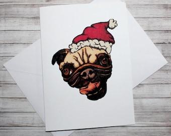Santa Pug- Hand Illustrated Christmas Card, Festive, Pug, Dog, Adorable, Cute, Funny animals, Christmas, Greetings Card, Love, Happy
