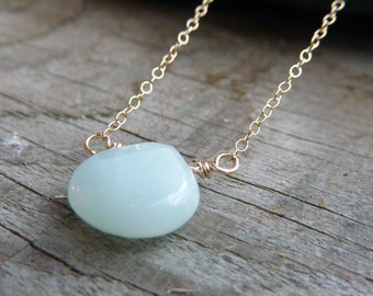 Serenity: Amazonite Gold Necklace, Simple Gemstone Necklace, Minimalist Necklace, Gemstone Necklace, Simple Modern Jewelry, Modern Necklace
