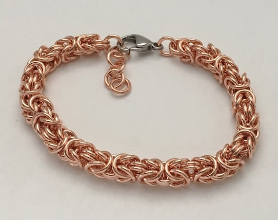 100% Copper byzantine bracelet unisex everyday jewelry
