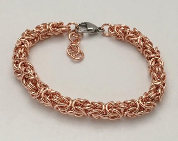 100% Copper byzantine bracelet unisex everyday jewelry