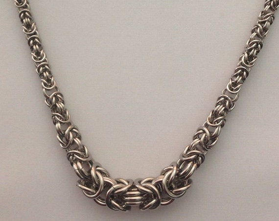 Stainess Steel graduated Byzantine necklace - bold and chunky unisex style