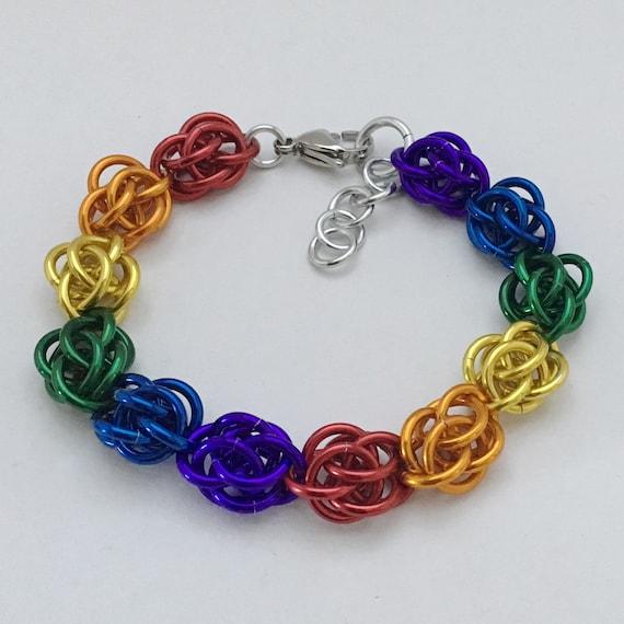 Rainbow Pride Sweetpea chainmaille bracelet