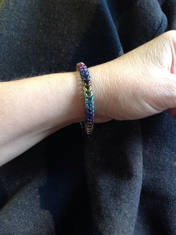 Anodized Niobium box chain bracelet - light weight