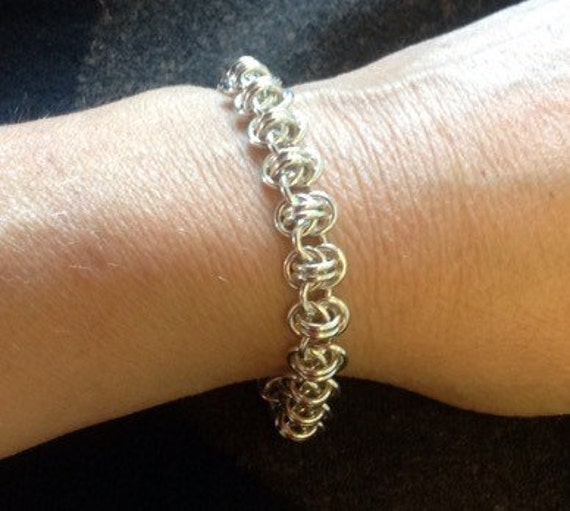 Barrel weave chainmaille bracelet in Sterling Silver