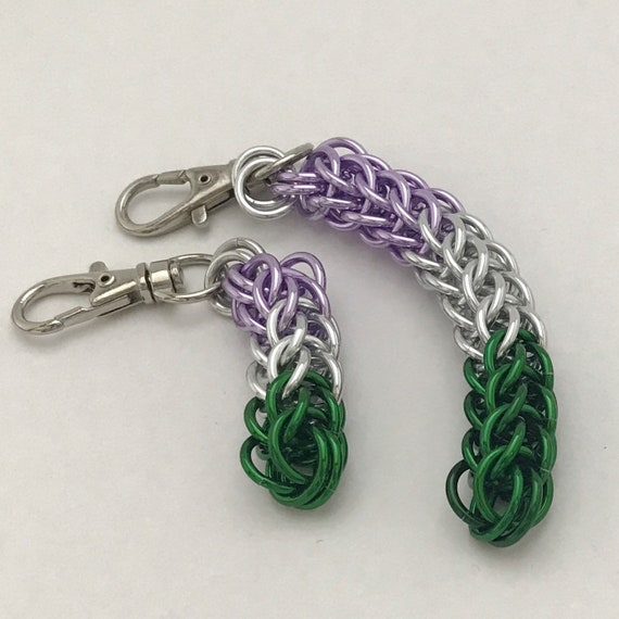 Genderqueer Pride chainmaille clip-on keychain / zipper pull / purse charm