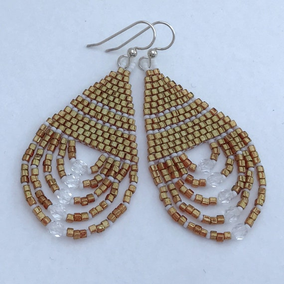 Gold cube bead earrings with crystals and loops - Denali Summit