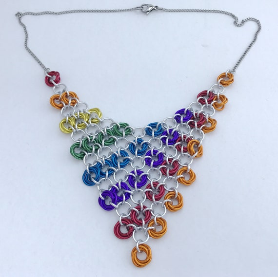 Rainbow Pride chainmaille rosettes mesh necklace