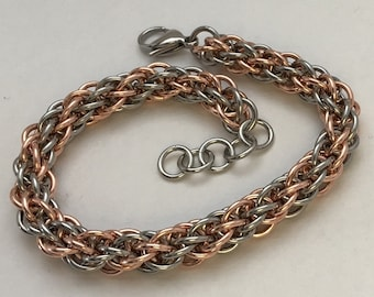 JPL-5 stainless steel and copper chainmaille spiral pattern bracelet