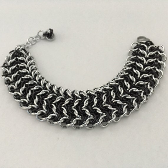 Elfsheet wide cuff chainmaille bracelet, black and silver
