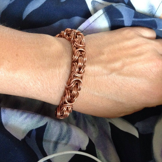 Doubled-up Byzantine bracelet in pure copper