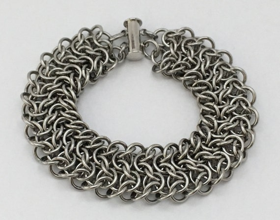 Elfsheet chainmaille bracelet 3/4 inch width, stainless steel