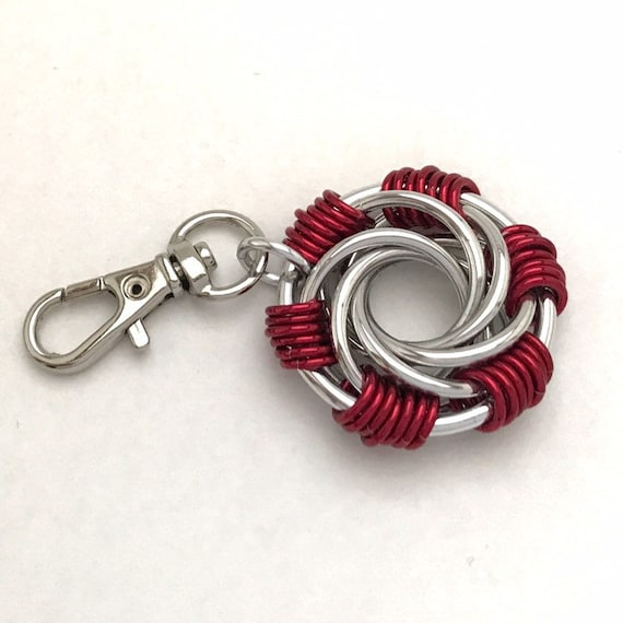 Chainmaille clip-on keychain / zipper pull / purse charm Maillestrom - your choice colors