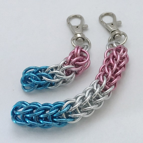 Trans Pride chainmaille keychain / zipper pull / purse charm
