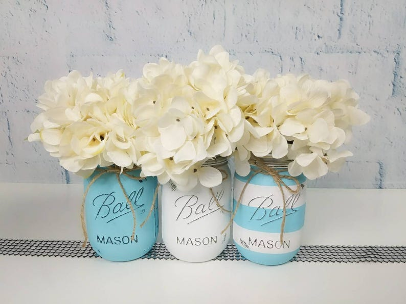 Baby Blue Centerpieces, Blue and White Mason Jars, Baby Shower Mason Jars,  Baby Blue Decor, Gender Reveal Decoration, Blue and White Stripes