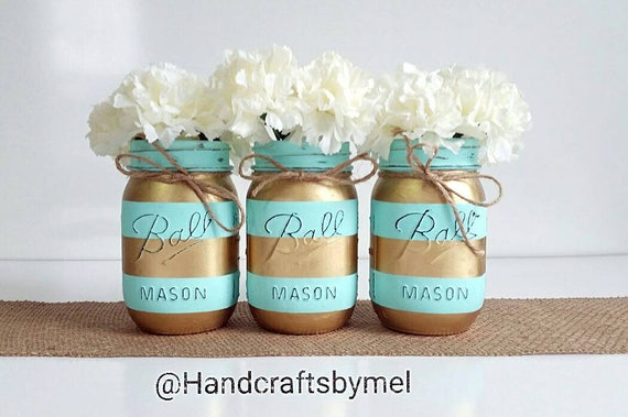 Mason Jar Centerpieces, Teal And Gold Wedding Decor, Baby Shower  Centerpiece, Striped Mason Jars, Table Centerpieces, Shabby Chic, Farmhouse