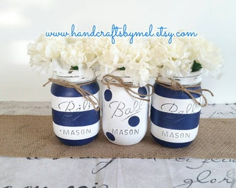 Nautical Theme Distressed Mason Jars, Baby Shower Centerpieces, Nursery Decor, Wedding Centerpieces, Farmhouse Decor, Table Center-Pieces