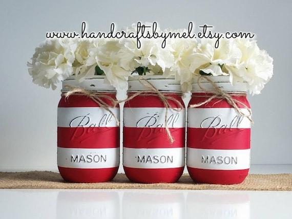 Candy Cane Mason Jars Christmas Decor Holiday Decorations Etsy