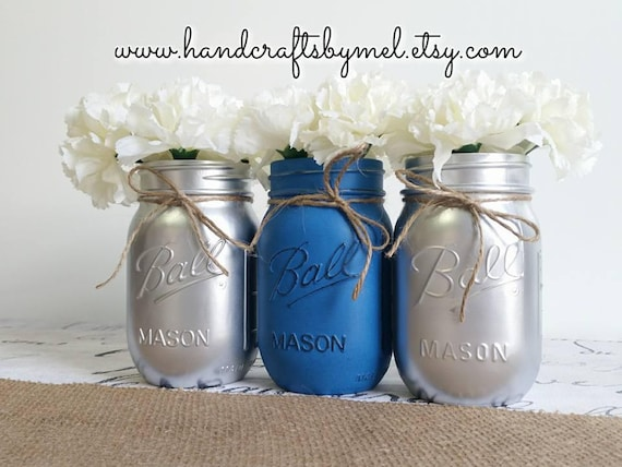 Set Of 3 Blue And Silver Mason Jar Vases Mason Jar