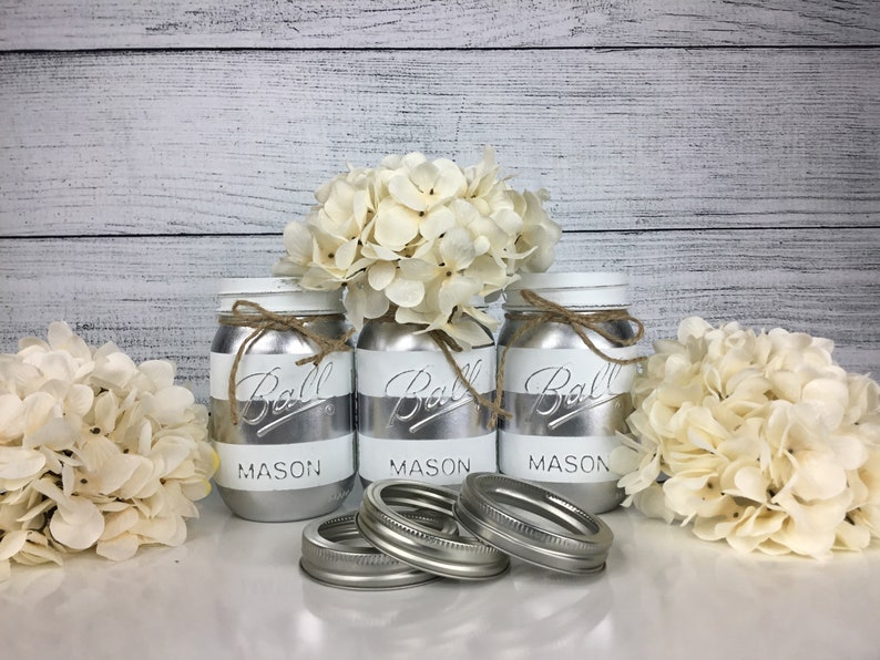 Silver Party Decor White And Silver Silver Centerpieces Etsy
