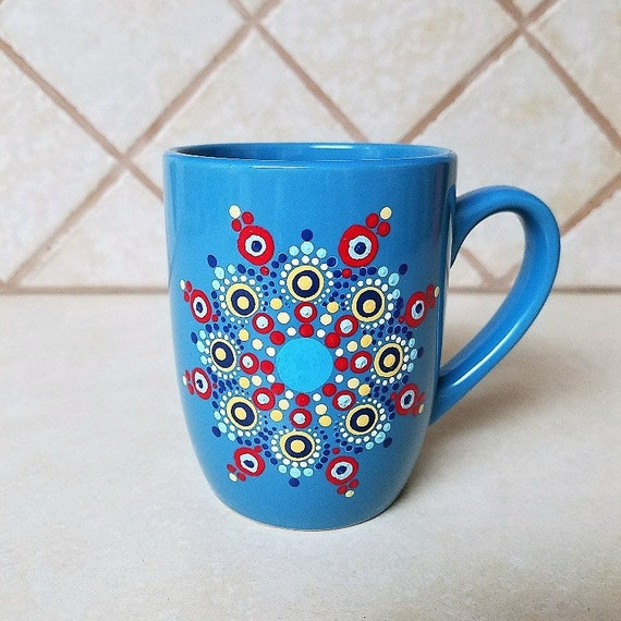 ORIGINAL HANDMADE THE BLUE COFFEE CUP PAINTING