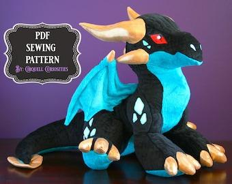 Dragon Stuffed Animal Pattern PDF - Dragon Plushie Sewing Pattern Dragon OOAK Doll Tutorial Dragon Plush Toy Pattern Mythical Creature DIY