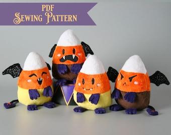 Demon Candy Corn Plush Pattern PDF -Cute Halloween Stuffed Animal Sewing Pattern Halloween Craft Tutorial Demon Plushie Pattern for Sewing