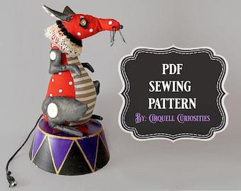 Circus Rat Stuffed Animal Pattern PDF - Fantasy Animal Plushie Pattern Mouse Plush Pattern Gothic Art Doll Halloween Animal Sewing Pattern