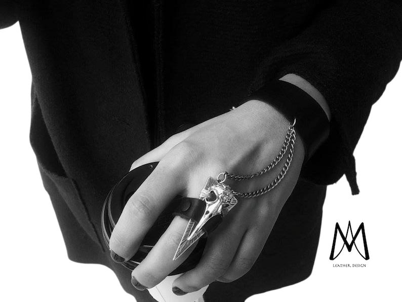Hand Chain Bracelet Skull Ring Black Leather Ring Holidays image 0