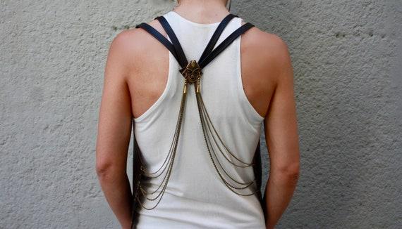 Vest Vest Back Outfit Steampunk Open Chick Hippie Vest Festival Womens Man Clothing Sexy Burning Bohemian Biker Black Clothing Vest zwZwqO