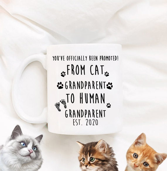 Cat Pregnancy Announcement Cat Grandparent to Human Grandparent Grandparents Mug Baby Announcement Baby Reveal to New