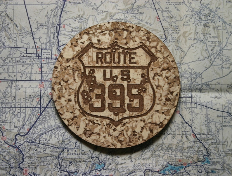 Historic Route 395 Coaster, RV, Camping, Nostalgia, Wood Coasters Rustic  Bullet Riddled Sign ~ Old Route 395 Sign ~ RV Camper Gift