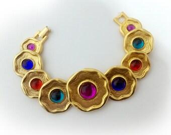 368c8e9d0e4 Modernist Golden Discs Bracelet with Jewel-Tone Glass Cabochons, YSL-Style