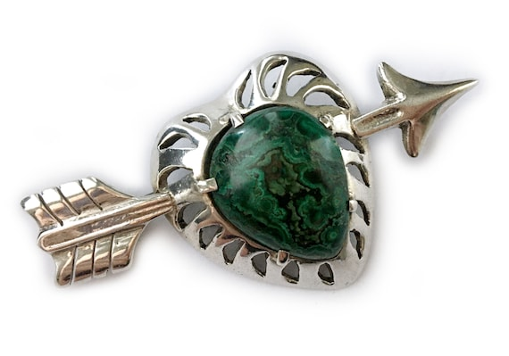 Sterling & Malachite Heart with Arrow Brooch: Mexi