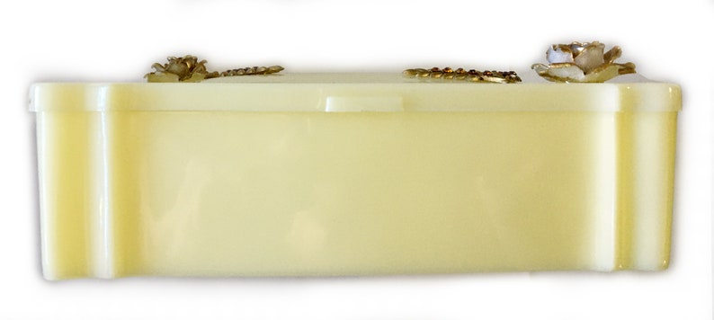 Schwarz Bros Creamy Lucite Trinket Box with Gilt Roses Rhinestone Accents