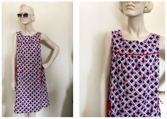 50s house dress // 40s 50s patriotic day dress //